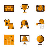 Flat style basketball orange icons Royalty Free Stock Image