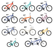 Flat style bicycles set Royalty Free Stock Images