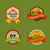 Flat style of bio organic eco healthy food label logo template and vintage vegan farm element in orange green color. Flat style of bio organic eco healthy food Stock Image