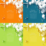 Flat style birthday backgrounds Royalty Free Stock Images