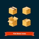 Flat style boxes isometric icons Stock Image