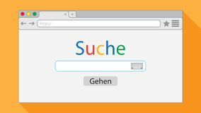 Flat style browser window on orange background. Search engine illustration. Inscriptions. `Search` and button `Go` in German language royalty free illustration