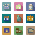 Flat style buildings icons vector set Stock Photos