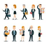 Flat business people characters  icon set. Flat style business people characters  icon set collection. Male and female persons in strict elegant office clothes Stock Images