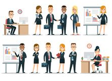 Flat business people characters  icon set. Flat style business people characters in workplace  icon set collection. Male and female persons in strict elegant Royalty Free Stock Images