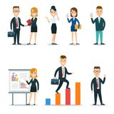 Flat business people characters  icon set. Flat style business people characters in workplace  icon set collection. Male and female persons in strict elegant Stock Image