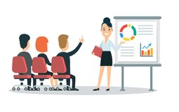 Flat style business people characters in workplace vector icon set collection. Male and female persons in presentation meeting roo. M. Businessmen and Stock Photography