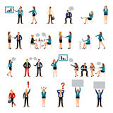 Flat style business people figures icons. Web template icon set. Lifestyle situations icons. Marketing target, chat message, talk, banner in hands, handshake vector illustration