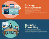Flat style business success strategy management concept and Business Consulting.  Web banners templates set. Royalty Free Stock Image