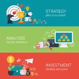 Flat style business success strategy target infographic concept. Flat style business success strategy target aim, finance analysis, growth investment infographic Royalty Free Stock Photo