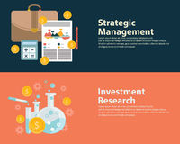 Flat style business success strategy target infographic concept and Investment research.  Web banners templates set.  Royalty Free Stock Photo