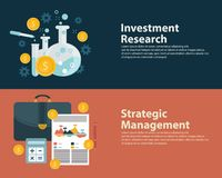 Flat style business success strategy target infographic concept and Investment research. Web banners templates set.  royalty free illustration