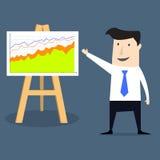 Flat style businessman showing progress chart Stock Photography