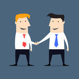 Flat style businessmen shaking hands Stock Photography