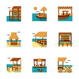 Flat style cafe and bungalow icons set Stock Photo