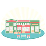 Flat style cafe restaurant bistro little tiny shop icon set food market shoes and coffee. Royalty Free Stock Images