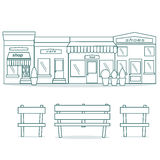 Flat style cafe restaurant bistro little tiny shop icon set food market shoes and coffee. Royalty Free Stock Image