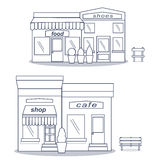 Flat style cafe restaurant bistro little tiny shop icon set food market shoes and coffee. Royalty Free Stock Photography