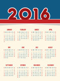 Flat style 2016 calendar design Stock Images
