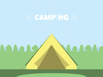 Flat Style Camping In Forest Vector Illustration. Royalty Free Stock Image