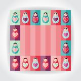 Flat Style card pink, purple, orange, teal Russian dolls matryoshka with heart. Vector