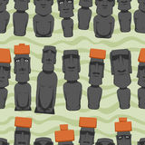 Flat style Cartoon Easter Island Rapa Nui seamless background with Moai, tropical colorful pattern Royalty Free Stock Photography