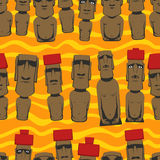 Flat style Cartoon Easter Island Rapa Nui seamless background with Moai, tropical colorful pattern Stock Image