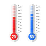 Flat style Celsius and Fahrenheit thermometers Royalty Free Stock Image