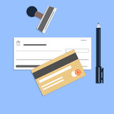 Flat style checkbook credit card and pen stock illustration