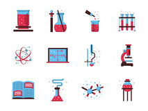 Flat style chemistry colored icons. Set of stylish flat blue and pink color icons for chemistry. Science and educational symbols. Web design elements vector illustration