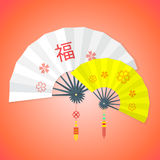 Flat style chinese new year fans Stock Photography