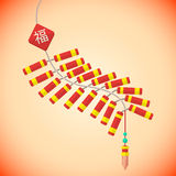 Flat style chinese new year firecrackers Royalty Free Stock Image