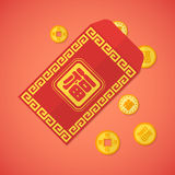 Flat style chinese new year red envelope with coins Stock Image