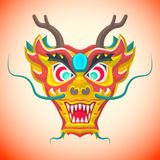 Flat style chinese red dragon mask. Vector flat design chinese new year red dragon mask illustration Royalty Free Stock Photo