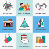 Flat style Christmas icons. Santa Claus, Christmas decorations, gifts, Christmas tree, fireplace, and other Christmas symbols. Set of Christmas icons in flat Stock Photography