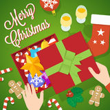 Flat Style Christmas Vector Card or Background Royalty Free Stock Photos
