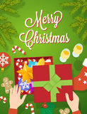 Flat Style Christmas Vector Greeting Card Stock Images
