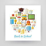 Flat Style Circle Vector Set of Back to School and Education Obj Stock Photos