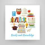 Flat Style Circle Vector Set of Books Education and Knowledge Ob Royalty Free Stock Images
