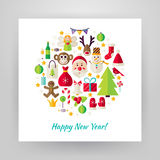 Flat Style Circle Vector Set of Happy New Year Objects. Happy New Year Objects over white Paper. Flat Design Vector Illustration. Collection of Winter Holiday stock illustration