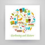 Flat Style Circle Vector Set of Nature Gardening and Environment Royalty Free Stock Photos