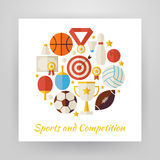 Flat Style Circle Vector Set of Sport Recreation and Competition. Objects Isolated over White. Flat Design Vector Illustration. Collection of Sports and Royalty Free Stock Photos