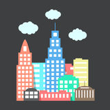 Flat style city with clouds on dark background. Vector illustration Stock Photos