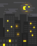 Flat style cityscape at night with light in some of the windows. Still on, big city life Stock Photo