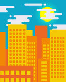 Flat style cityscape on a sunny day, big city life Stock Photos