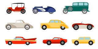 Flat style classic cars set Stock Images