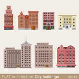 Flat style classic municipal buildings vector set Stock Photo
