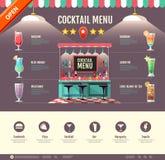Flat style cocktail bar design. Web site design. Cocktail menu Stock Photo