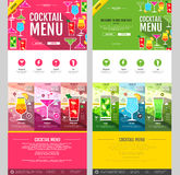 Flat style cocktail menu concept Web site design. Royalty Free Stock Photos