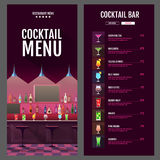Flat style cocktail menu design with bar interior Royalty Free Stock Photo